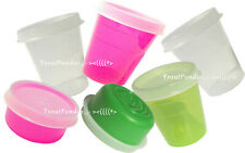 TUPPERWARE 6 Piece Set Minis Midgets and Smidgets Neon Hot Pink Green Clear New