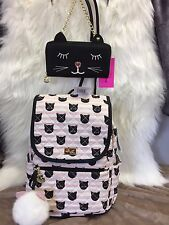 NEW!  Betsey Johnson  Pink & Black Cat Kitten Quilted Backpack & Wallet