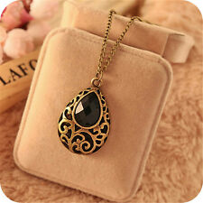 New Classic Retro Fantasy Black Drop Crystal Long Necklace Sweater Chain UK