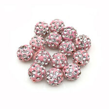Wholesale 20/Pcs Pink Micro Pave Disco Shamballa Crystal Beads Bracelet Spacer