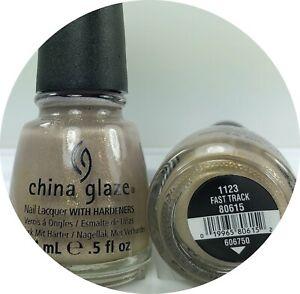 CHINA GLAZE Nail Polish Fast Track 1123 Bronze-y Beige W Gold & Green Fleck