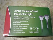 2PK Stainless Steel Deco Solar Light Brighten up your patios decking driveways