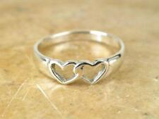 Heart Toe Ring Adjustable Baby Ring 14Kt White Gold Plated Cute Double