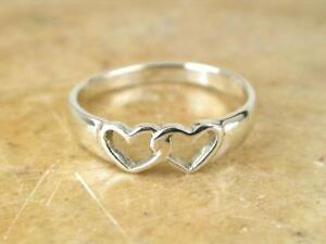 14KT White Gold Plated CUTE DOUBLE HEART TOE RING BABY RING KNUCKLE RING