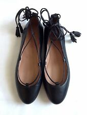 "NEW ""Madewell"" Lace-up Flats In Black Leather, Size 6.5M"