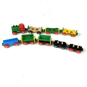 Lot of 9 Brio Wooden Magnetic Trains: Engine Dump Car