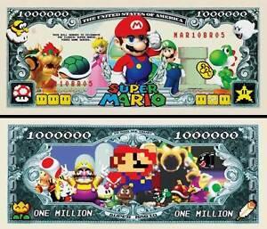 Super Mario Brothers Million Dollar Bill Funny Money Novelty Note + FREE SLEEVE