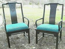 PAIR MID CENTURY MODERN ORIENTAL ASIAN BLACK UPHOLSTERED ARMCHAIRS
