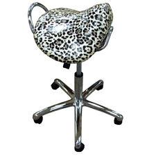 Groom Professional Leopard Print Adjustable Salon Saddle Stool