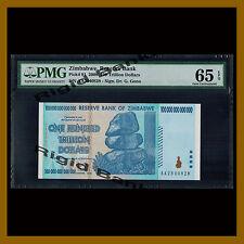 Zimbabwe 100 Trillion Dollars, 2008 P-91 AA PMG 65 EPQ