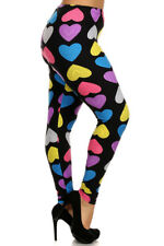 Plus Size Leggings XL-2X Polyester Spandex EEVEE Multi Color Heart Print Black