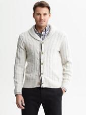 MEN Banana Republic Cable-Knit Shawl-Collar Cardigan Sweater Button Down SMALL