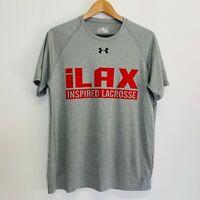 Under Armour Men's T-Shirt Grey Size Medium Heatgear Loose Fit iLAX Lacrosse