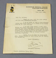 1955 original letter Laurence Olivier 'intense mental upset' at public speaking!