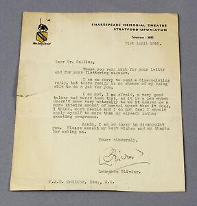 1955 original letter Laurence Olivier 'intense mental upset' at public speaking!