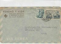 spain  1952 airmail stamps cover ref 19346