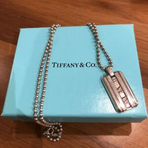 TIFFANY&Co Atlas Dog Tag Pendant Necklace Silver 925 Bead Chain w/BOX Used-Good
