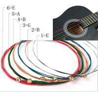 One Set 6pcs Rainbow Colorful Color Strings For Acoustic Guitar Accessory UK