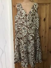 Papaya Women's Ladies Linen Dress Floral Sequins Beads Size Uk 18