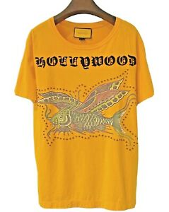 Gucci Men's Yellow Hollywood Catfish T-shirt with Studs Size Small