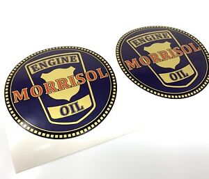 Vintage 2 Gallon Petrol Tin Can Morrisol Engine Oil Decal Stickers X2 Retro 50s