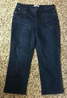 J. Jill Women's Dark Blue Denim Smooth Fit Straight Leg Capri Jeans-Size 8