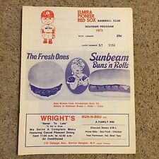 1973 ELMIRA PIONEER RED SOX New York-Penn Minor League Baseball Program Boston