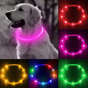 Light up LED Dog Collar Adjustable USB Rechargeable Pet Safety Luminous 35-70cm