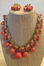 Vintage Costume Orange Leaf & Lrg Bead Jewelry Set necklace & Earrings.