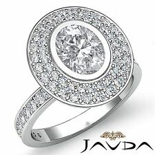 2 Row Halo Pave Set Oval Diamond Engagement Ring GIA I SI1 18k White Gold 2.25ct
