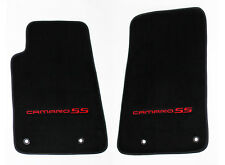 NEW BLACK Floor Mats 2010-2015 Camaro Embroidered Logo and SS in Red Front Pair