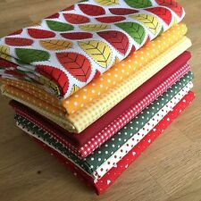 AUTUMN Fat Quarter Bundle {4} 100% cotton ~ season, leaf, red, yellow fabrics