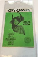 Ozzy Osbourne Diary Of A Madman Tour Backstage green Pass 1981-1982 Rare!!!