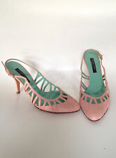 SERGIO ROSSI ITALY Slingback Stiletto Heels Size 36.5 Pink Leather 40s style