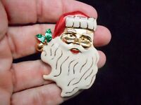 Authentic Vintage-1980's Gold Tone SANTA Christmas Brooch/Pin