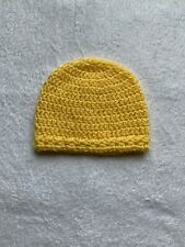 Handmade Crochet Baby Hat, newborn , yellow.