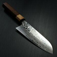 Japanese KATO YOSHIMI High Speed Steel SG2 Damascus Santoku Kitchen Knife Japan