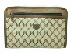 Authentic GUCCI Old Gucci Clutch Bag PVC Leather Brown Good 87800