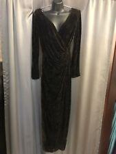 Tadashi- Long Wrap Dress - Dark Brown Alligator Velvet - Long Sleeves - Sz 12