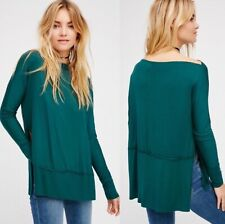 WE THE FREE Luna Long Sleeve Tee, Green, US Size Large, NWOT [RRP $85]