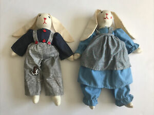 """Vintage Hand Stitched Medium 20"""" Floppy Country Bunny Cotton Boy Girl Signed '92"""