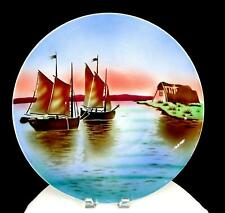 """VILLEROY & BOCH GERMANY #2495 BOATS BY THE SHORE LARGE 15 1/4"""" WALL PLATE 1920"""