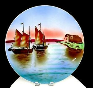 """VILLEROY & BOCH GERMANY #2495 BOATS BY THE SHORE LARGE 15 1/4"""" WALL PLATE 1920-"""