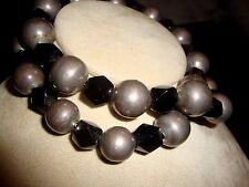 Vtg Faceted 12mm Black Onyx 18mm Round Sterling Silver Bead Necklace Mexico 112g