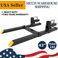"1500lb Clamp On Bucket Forks Lift Forks Skid Steer Loader 43"" Stabilizer Bar"