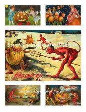 Vintage Halloween Fabric Block Kit Postcard Images