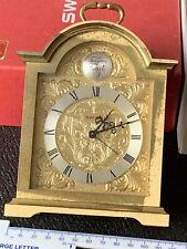 Swiza Carriage Clock 8 Day Movement Alarm Clock Stunning Ornamental Gold Details