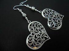 A PAIR OF TIBETAN SILVER BIG HEART EARRINGS WITH 925 SOLID SILVER HOOKS. NEW..