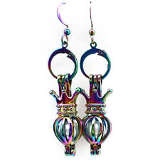 Rainbow Color Crown Pearl Cage Earrings Hooks with 8mm Plastic Beads /Z228