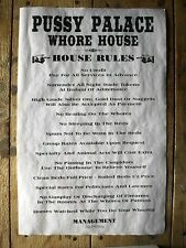 "(651) OLD WEST BROTHEL PUSSY PALACE WHORE HOUSE RULES NOVELTY POSTER 11""x17"""